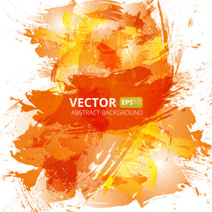 Abstract vector orange watercolor background.