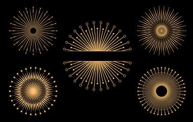 Hand drawn vector design elements. Set of bursting rays. Vintage