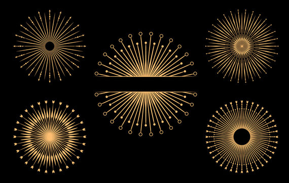 Hand drawn vector design elements. Set of bursting rays. Vintage