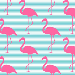 Seamless vector pattern background with pink flamingos. Design for decor and fabric