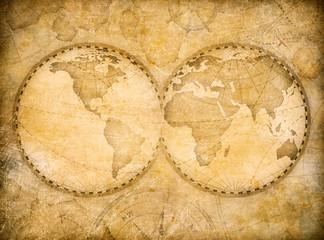 old vintage world map based on image furnished by NASA