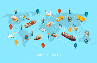 Logistics Operations Worldwide Isometric Poster