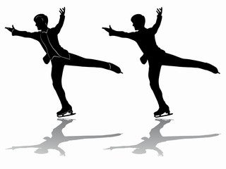 silhouette man figure skater, vector illustration