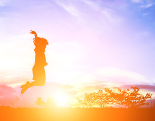 little girl jumping to sky and having happy time, Silhouette con
