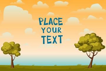 Poster Groene koraal Vector cartoon placard with a tree