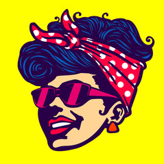 Vintage retro cool girl face head wearing sunglasses rockabilly hairstyle vector