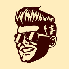 Vintage retro cool dude man face sunglasses rockabilly pompadour haircut vector isolated on white background