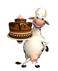 Cow cartoon character with cake