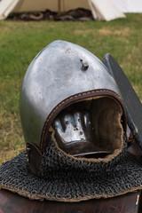 Silver and Metallic Knight Helmet