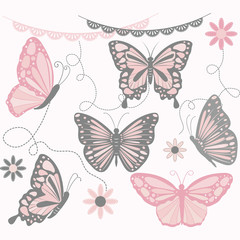 Pink and Grey Butterfly Collections.Butterfly Silhouette,Flower,Lace Border,Invitations