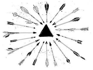 Hand drawn vector vintage texture. Decorative arrows with trangl