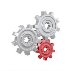3d chrome gear cog wheel render