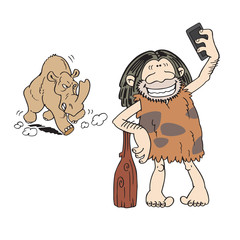 Dangerous selfie. Cartoon caveman taking a selfie photograph, unaware of the rhino coming behind him