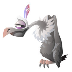 Cartoon cute vulture isolated. Series characters