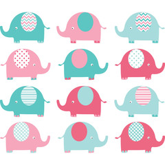 Pink and Aqua Cute Elephant set