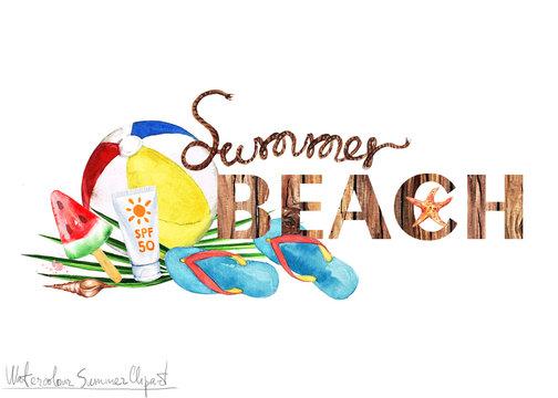 Watercolor Summer Clipart - Summer Beach
