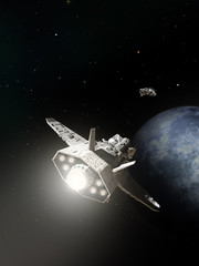 Spaceships Passing on Planetary Approach - science fiction illustration