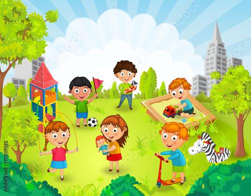 """Dibujos Animados De Niños Felices Y Payaso En El Parque: """"Children Playing In The Park Vector Illustration"""" Stock"""