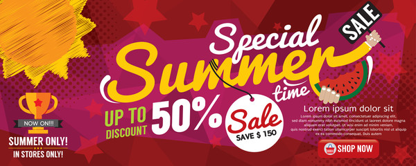 Summer Sale Banner 1500x600 Pixel Vector Illustration.