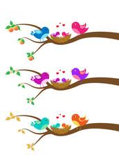 cartoon family of birds on a tree