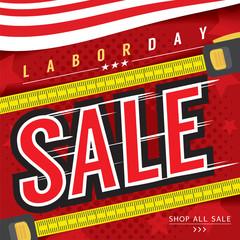 Labor Day Sale Banner Vector Illustration.