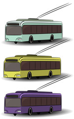 City transport icons. Side view bus, tram, trolleybus. Vector passenger vehicle. Urban electrical machines. Street traffic. Isolated objects. Transportation logotype elements.