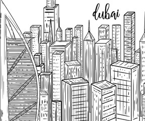 Dubai. Black and white cityscape in line art style. Vintage vector illustration