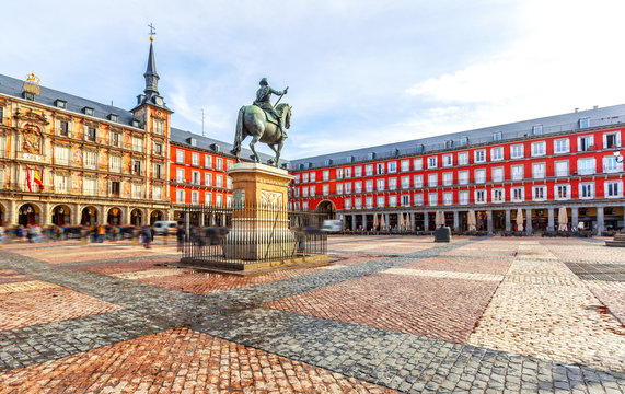 Plaza Mayor with statue of King Philip III in Madrid, Spain