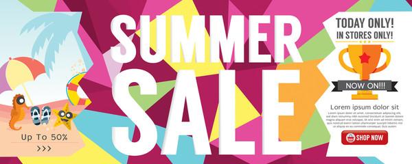 Summer Sale Banner 1500x600 Pixel Vector Illustration.