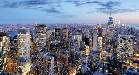 New York city at night, Manhattan, USA Fototapete