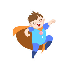 Baby Dressed As Superhero With Orange Cape