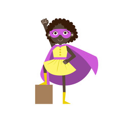 Girl In Superhero Costume With Violet Cape