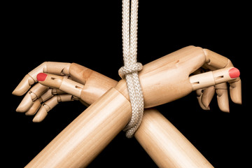 Hands head Bondage tied