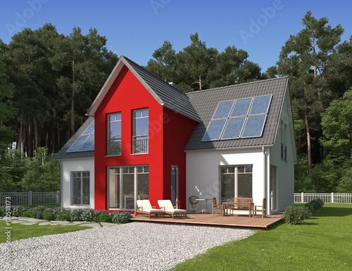 haus am waldrand mit rotem erker stockfotos und lizenzfreie bilder auf bild. Black Bedroom Furniture Sets. Home Design Ideas