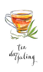 Cup of Indian black tea with leaves from Darjeeling