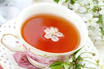 Jasmine tea with jasmine herb flower