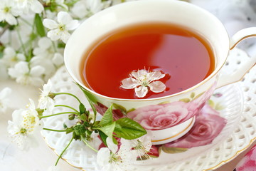 Jasmine tea with jasmine herb flower