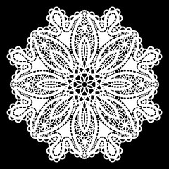 Lace round paper doily, lacy snowflake, greeting element package, doily - a template for cutting, vector illustrations