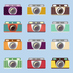 Set of retro cameras. Flat design. Icons for interface.