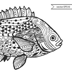 Fish. Hand-drawn fantasy fish with ethnic doodle pattern.