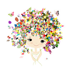Female portrait with floral hairstyle for your design
