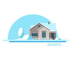 Winter house.  Family suburban home. Vector flat illustration.