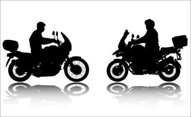 Fototapete - motorcyclists silhouettes - vector