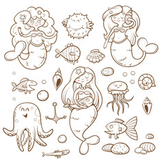 Cartoon marine set. Cute sea  animals: octopus, jellyfish, fish and mermaids. Underwater world. Children's illustration. Transparent background. Contour image. Vector image.