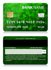 Credit Card with Abstract Polygon Pattern   Vector illustration of green credit card isolated on white background