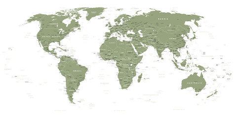 Swamp Green World Map - borders, countries and cities - illustration   Highly detailed vector illustration of world map.