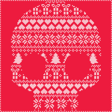Scandinavian Norwegian style  winter stitching  knitting  christmas pattern in  in sugar skull  shape including snowflakes, hearts xmas trees christmas presents, snow, decorative ornaments on red