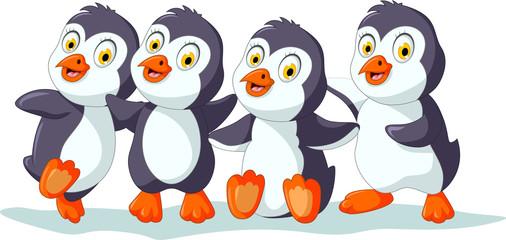 cute four penguins cartoon