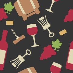Seamless pattern with set wine icon. Bottle, glass of wine, cork, corkscrew, bunch of grapes. Vector flat illustration. For web, info graphics for wine shop. Vector. Isolated black background