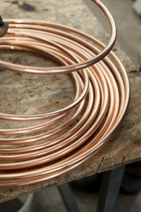 copper pipes close up